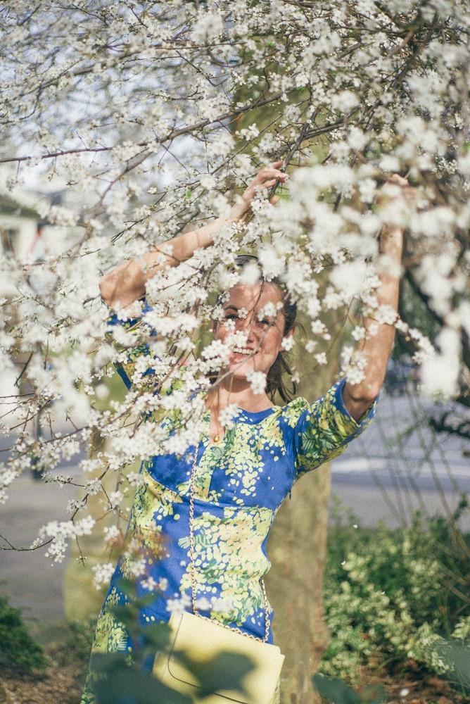 Boden Spring Summer Blue Yellow Dress-1