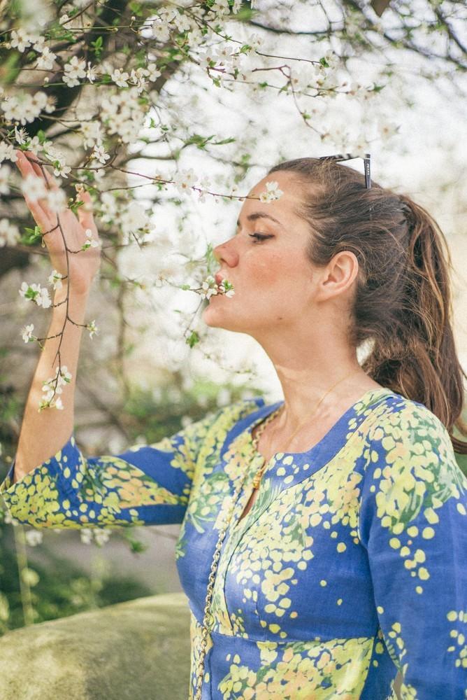 Boden Spring Summer Blue Yellow Dress-10