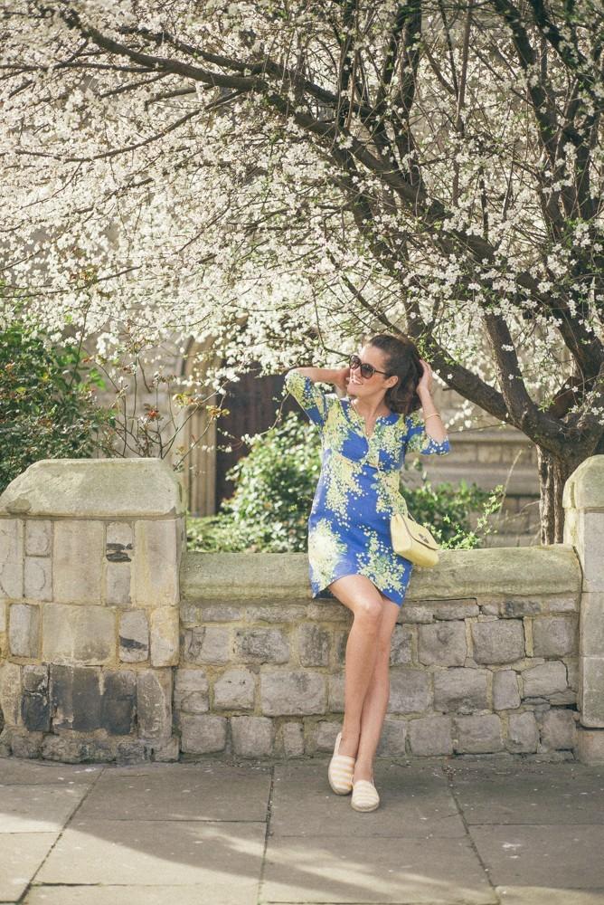 Boden Spring Summer Blue Yellow Dress-11