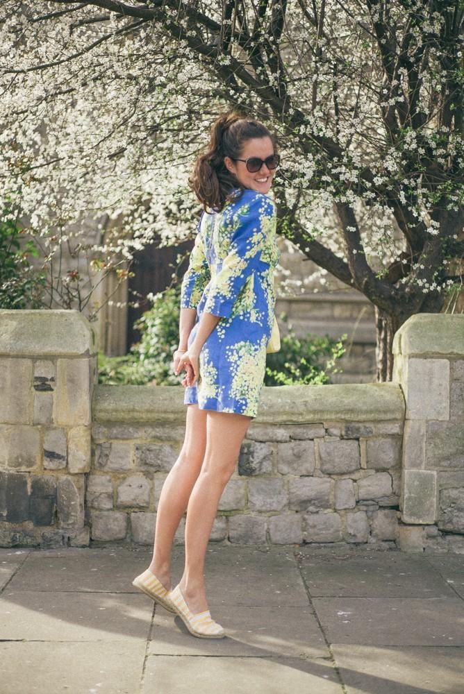 Boden Spring Summer Blue Yellow Dress-12