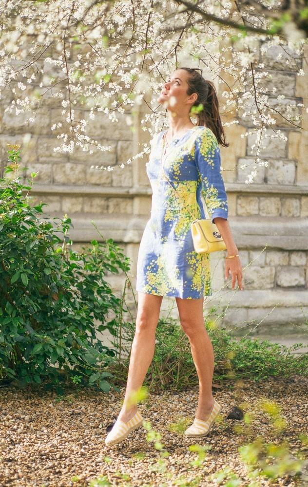 Boden Spring Summer Blue Yellow Dress-3