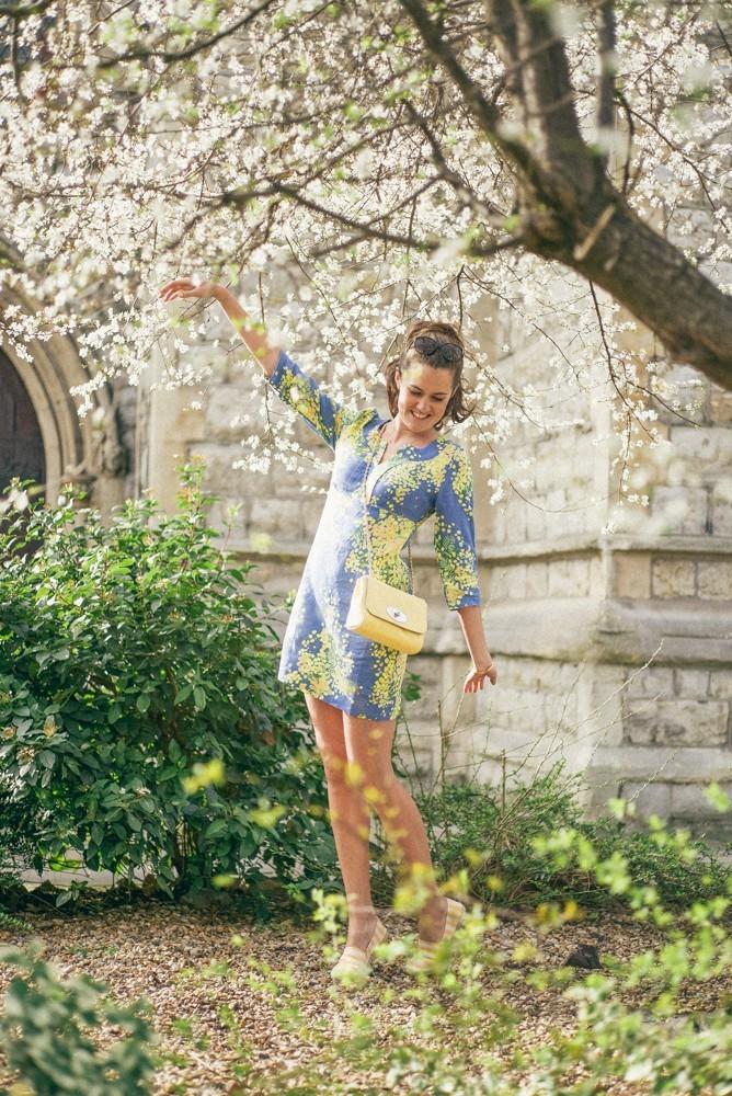 Boden Spring Summer Blue Yellow Dress-4