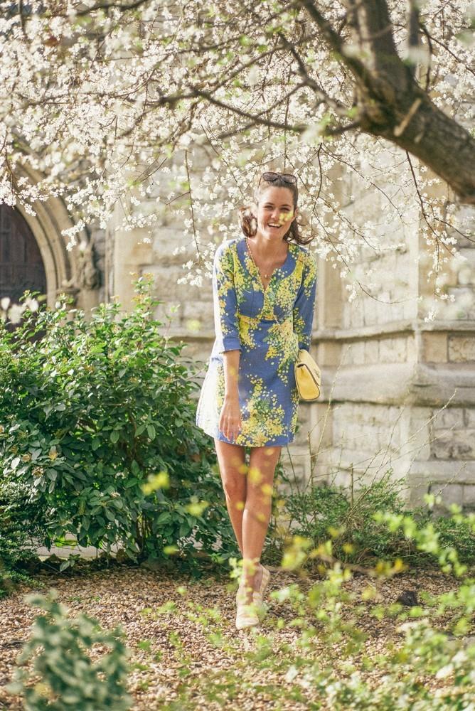 Boden Spring Summer Blue Yellow Dress-5