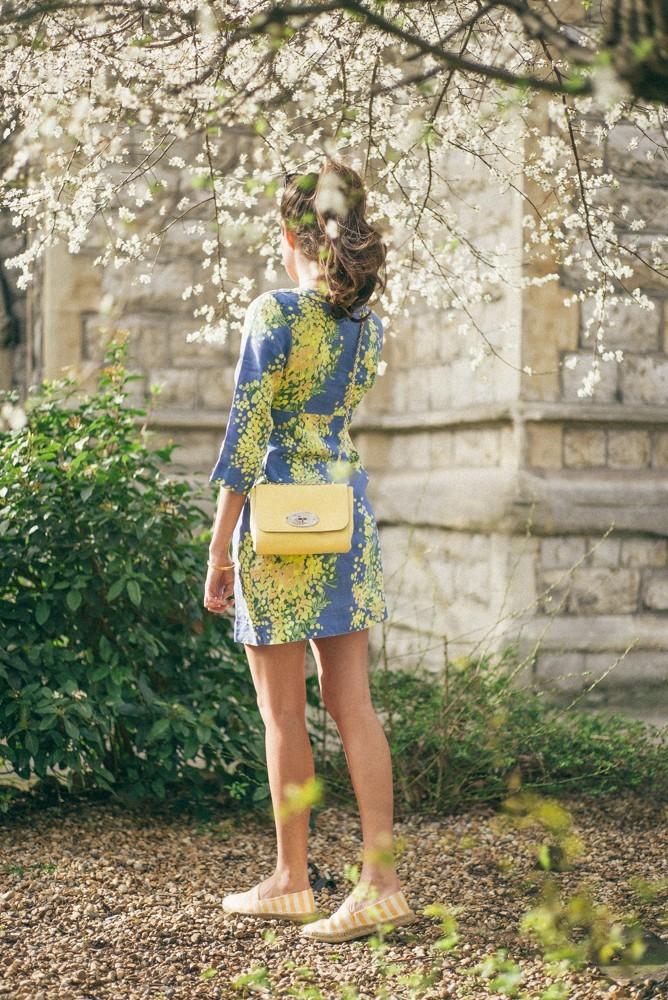 Boden Spring Summer Blue Yellow Dress-6