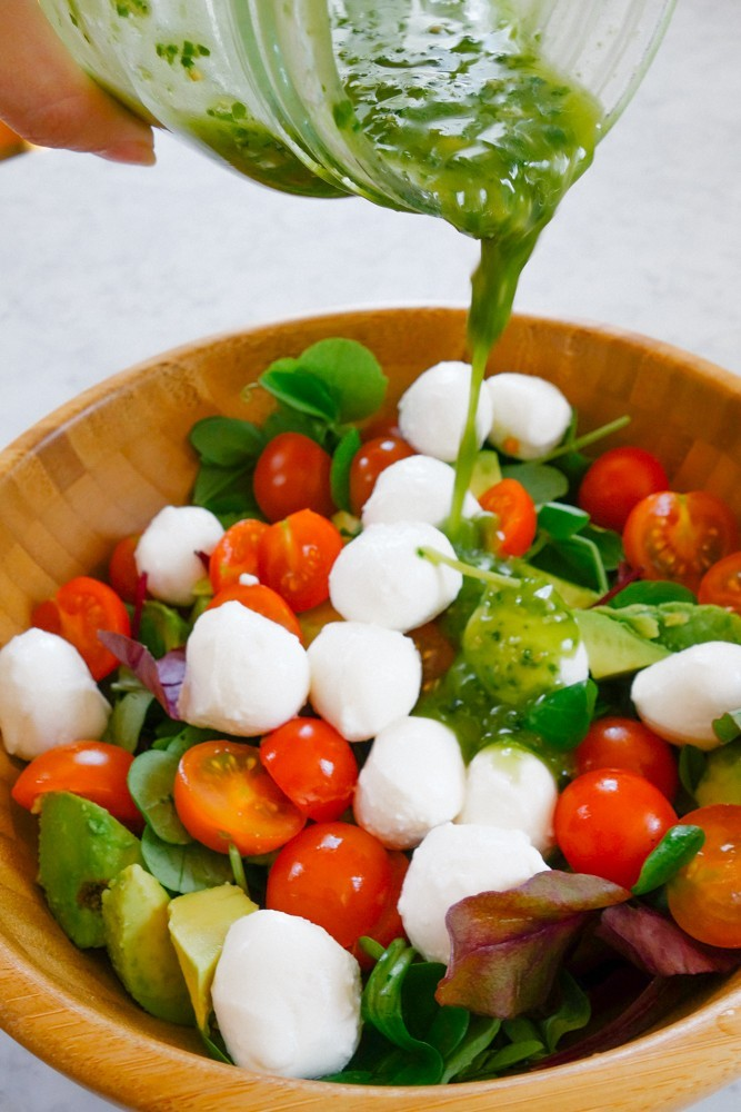 Caprese Salad + Pesto Dressing Recipe-9