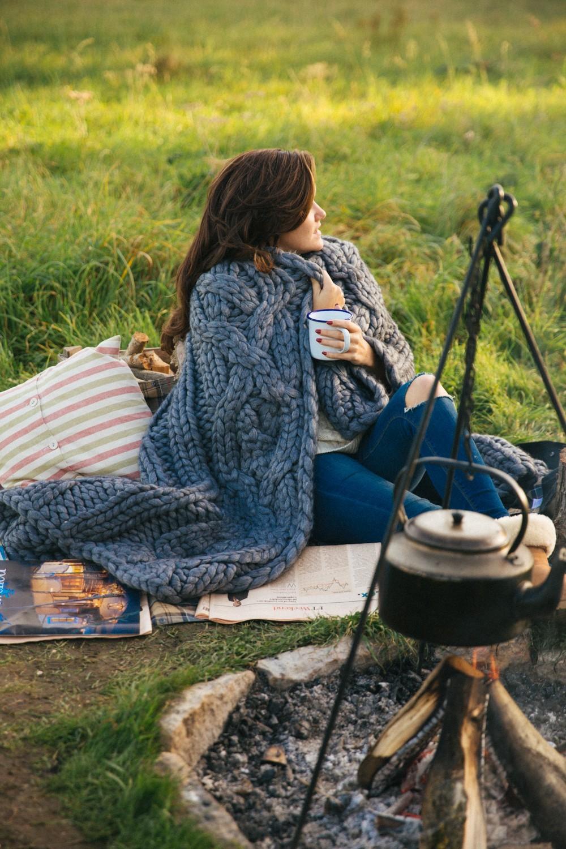 Chunky knit blanket