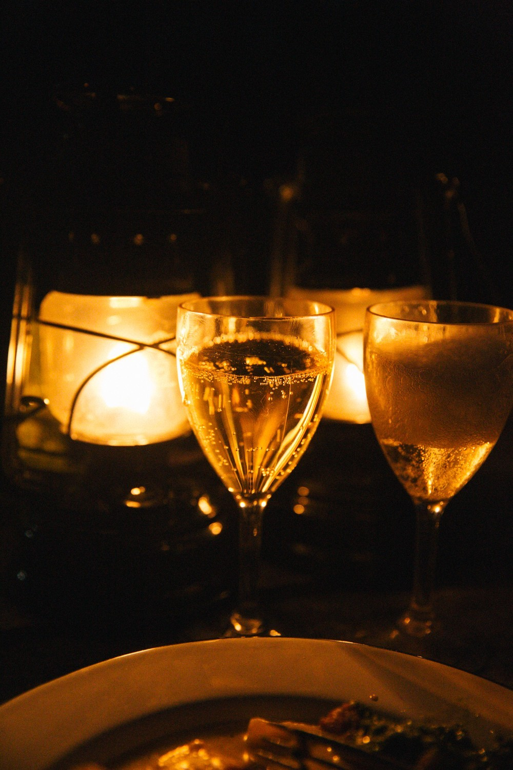 Champagne and candle light