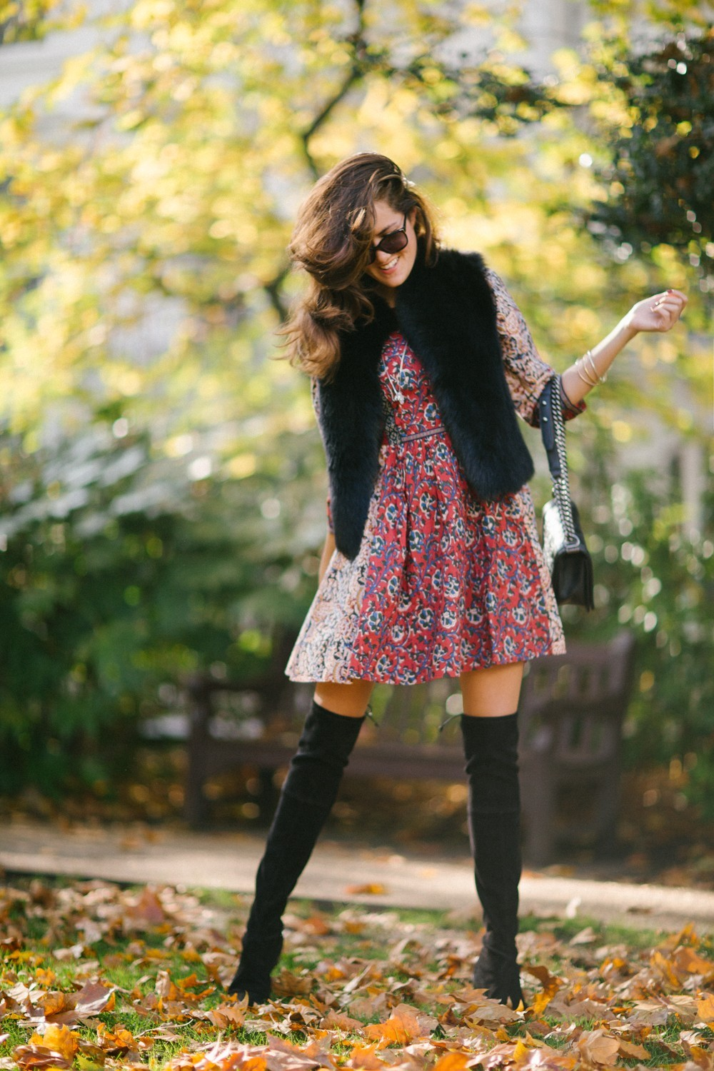 Dress, boots and shearling jacket for Autumn