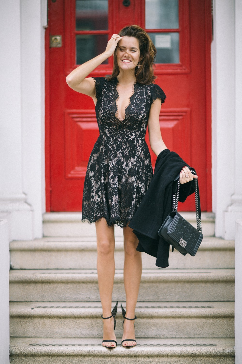 Lacey black dress & barely there sandals
