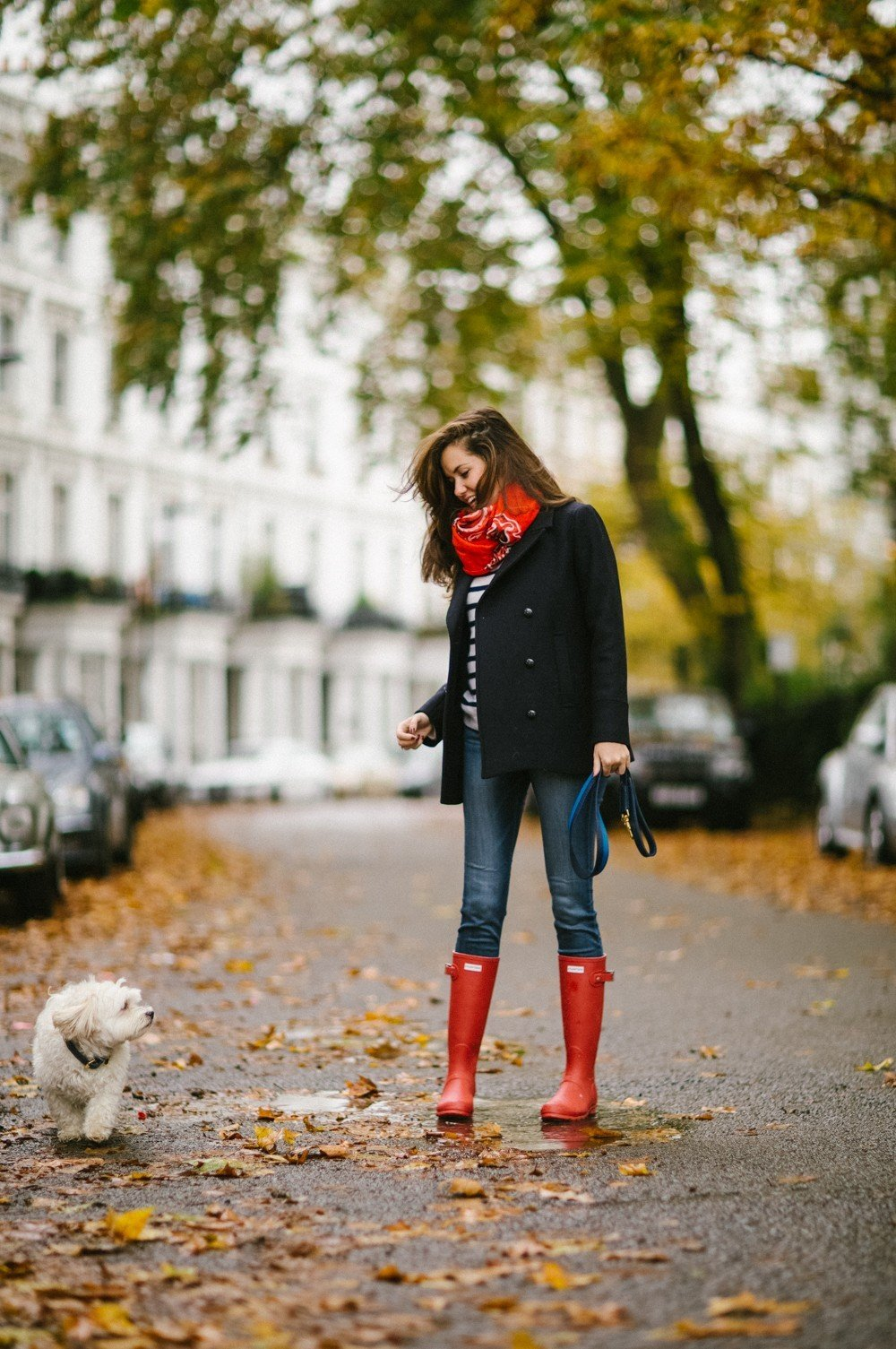 Red boots and a navy peacoat