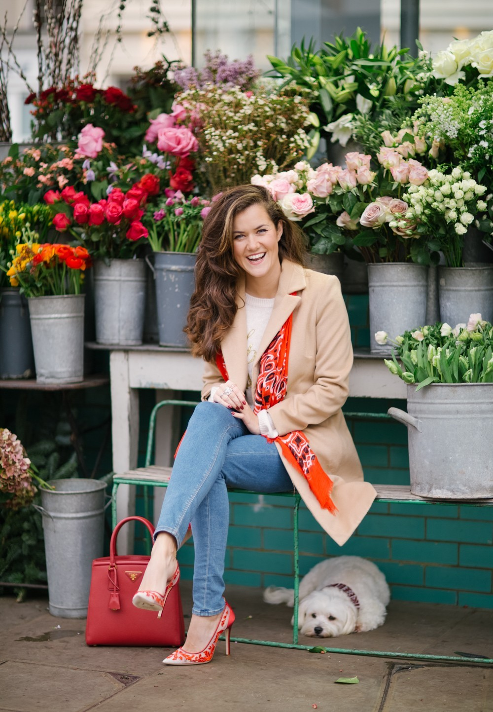Camel Coat and Florist in Notting Hill
