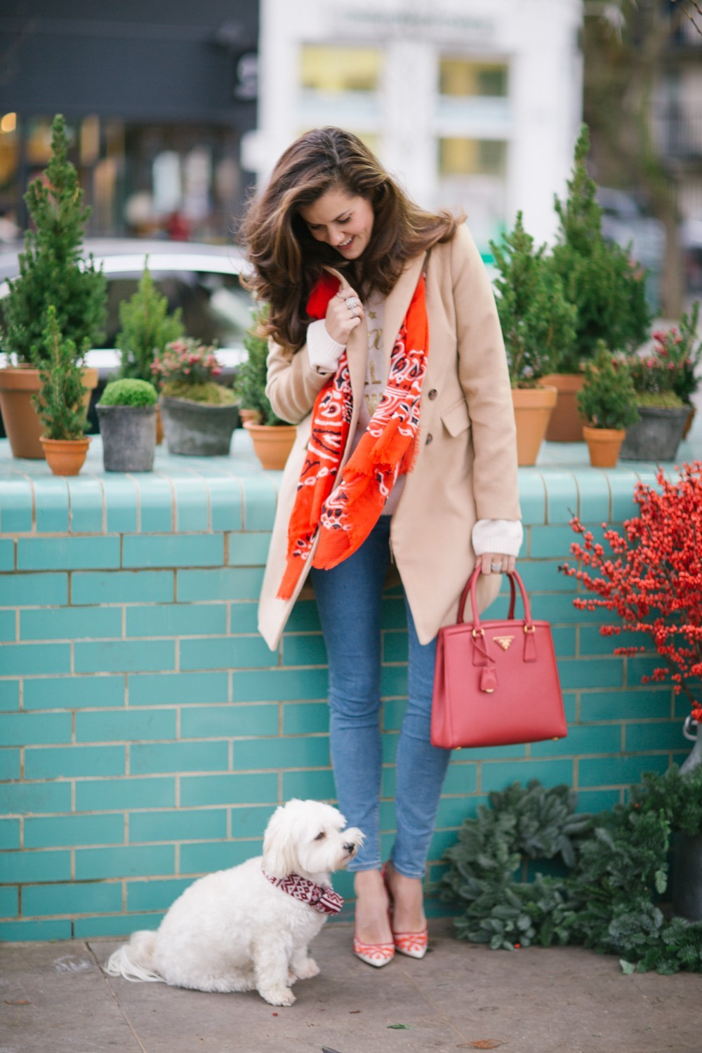 Festive Red Scarf and Prada Red Bag
