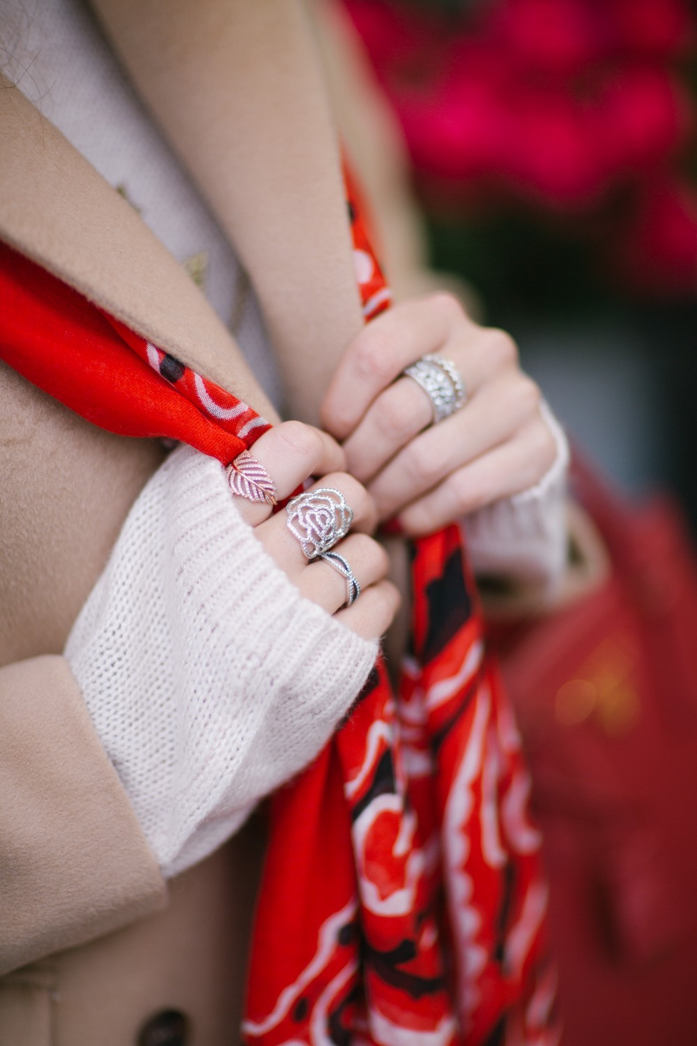 Festive Red Scarf and Silver Rose Ring