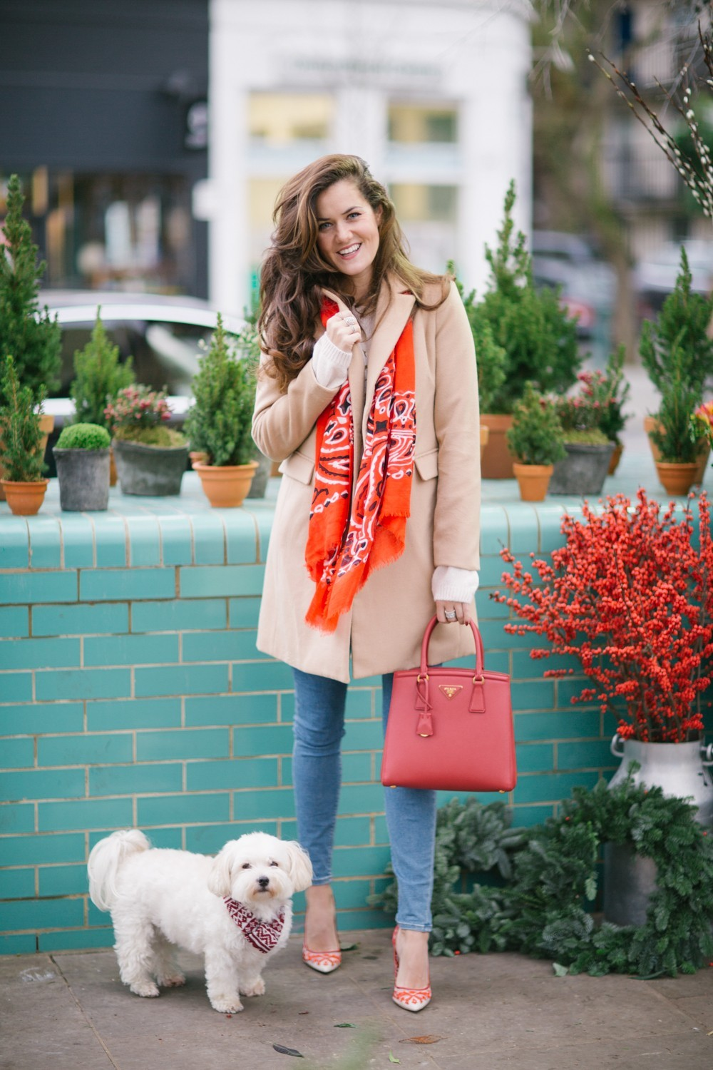 Festive Red Scarf and Camel Coat