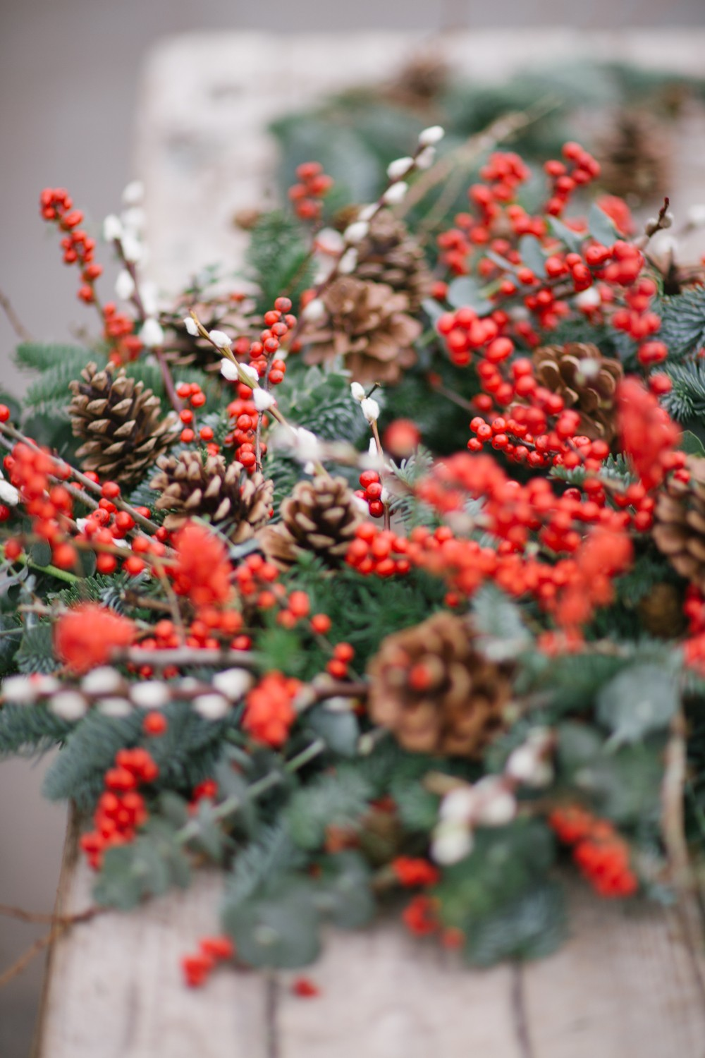 Red Berries and Pine Cone Christmas Wreath