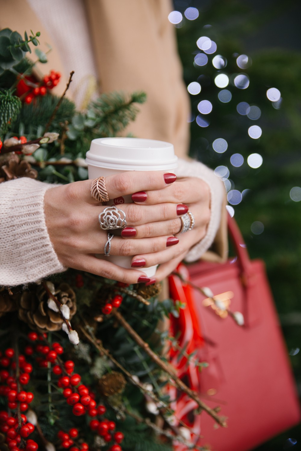 Silver Rose Ring and Festive Red Nails