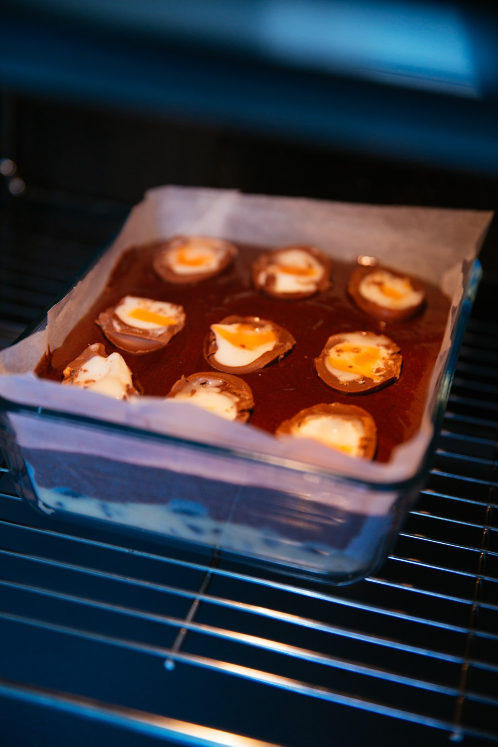 Cream Egg Slutty Brownies baking in the oven