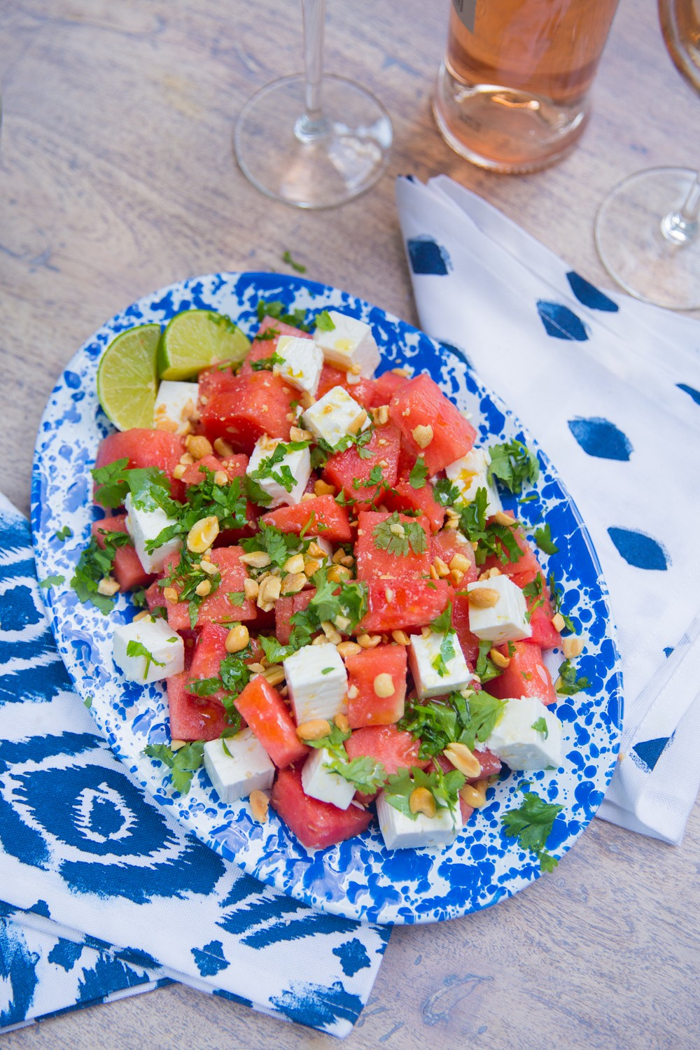 Watermelon Salad - Fresh, vibrant flavours with salty feta and crunchy peanuts