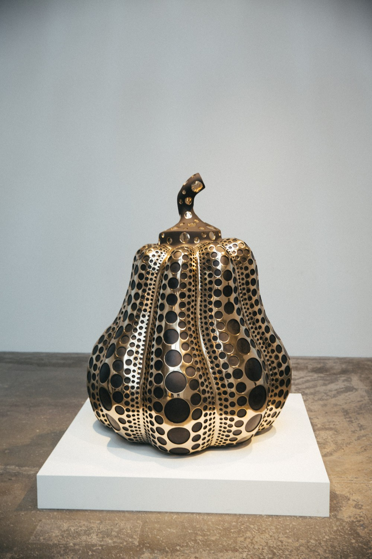 Yayoi Kusama brass pumpkin, London