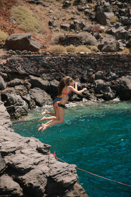 Rock Jumping Santorini The Londoner