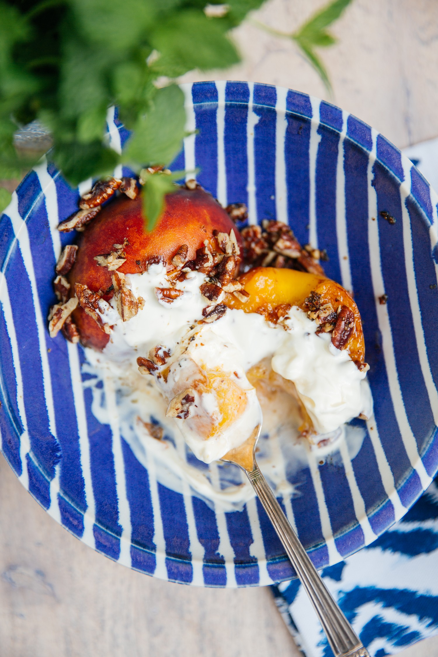 Pecan Peaches - low carb, sugar free summer dessert