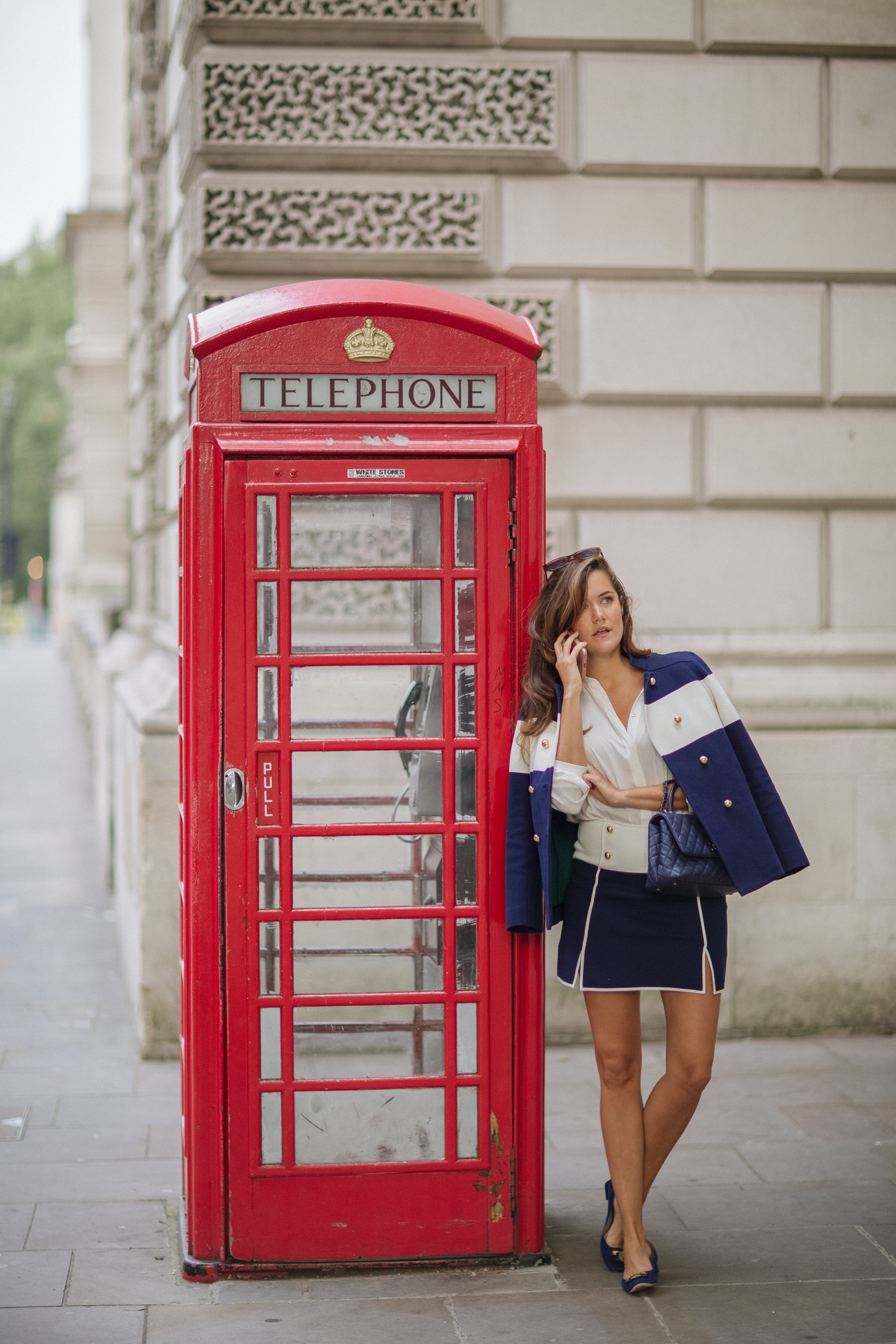 Navy & White Skirt Ensemble and Red Telephone Box