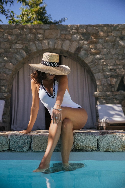 Straw hat and elegant onepiece