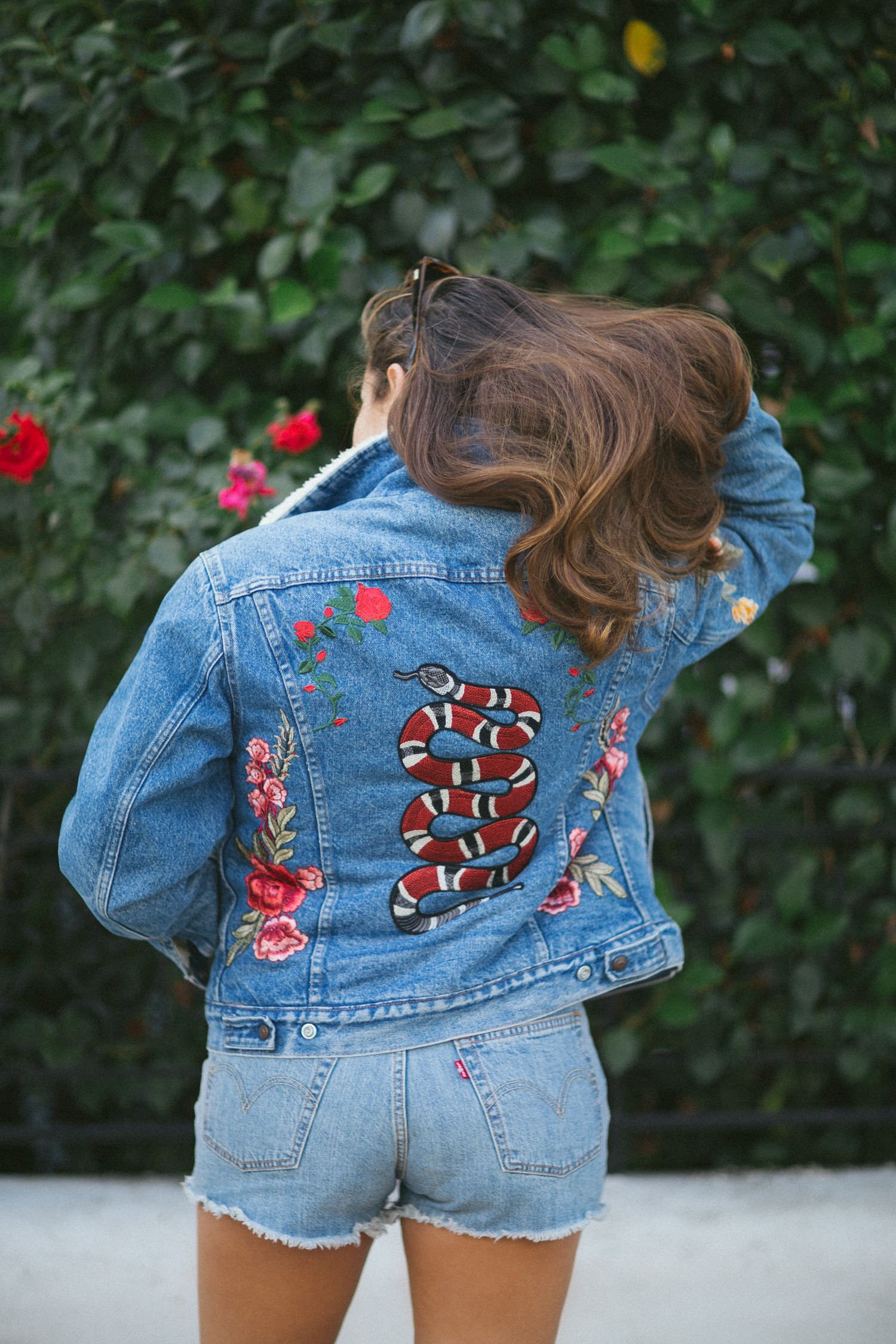 DIY Embroidered Snake on Levis Jacket