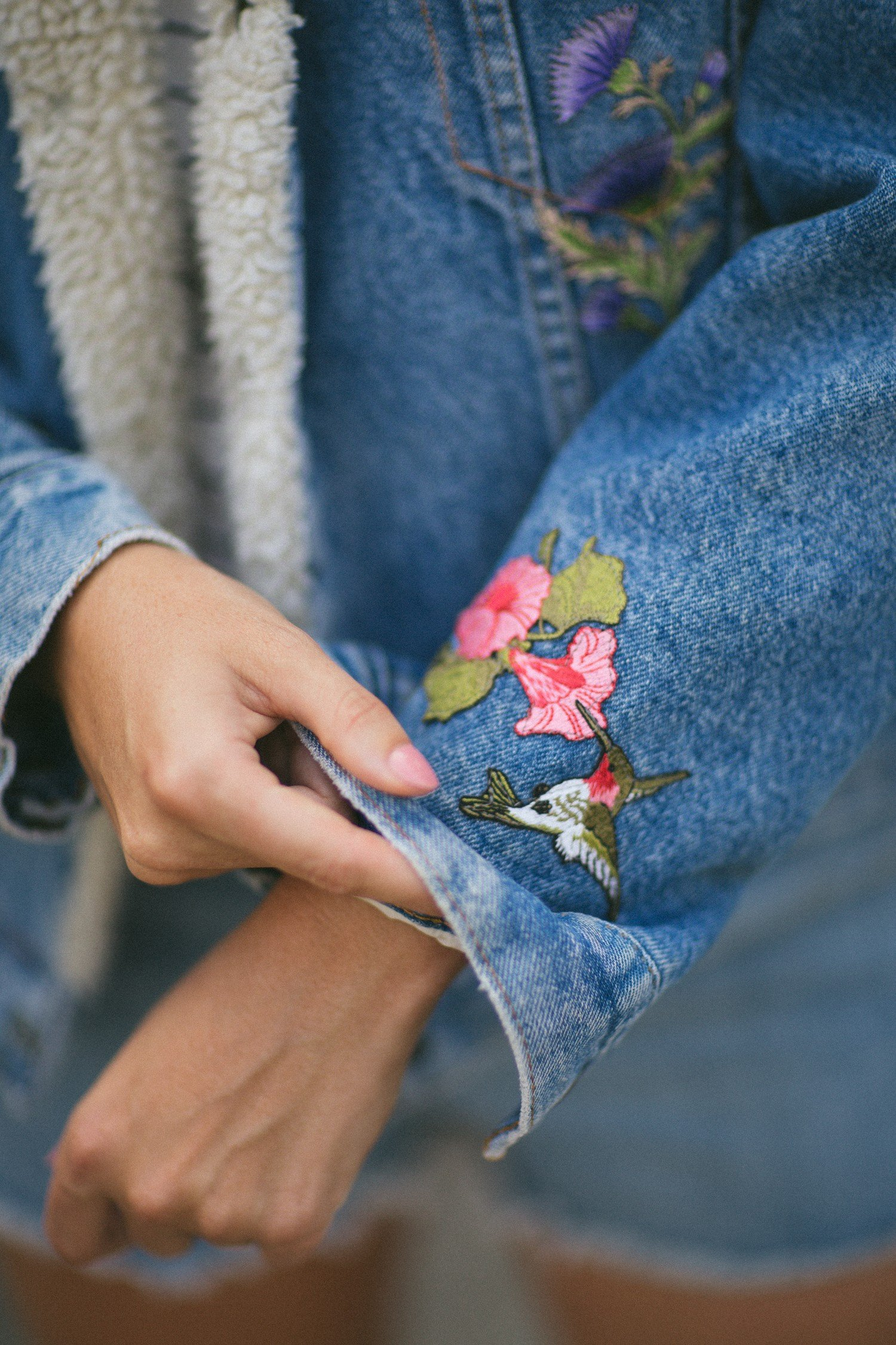 DIY hummingbird embroidered in denim levis jacket