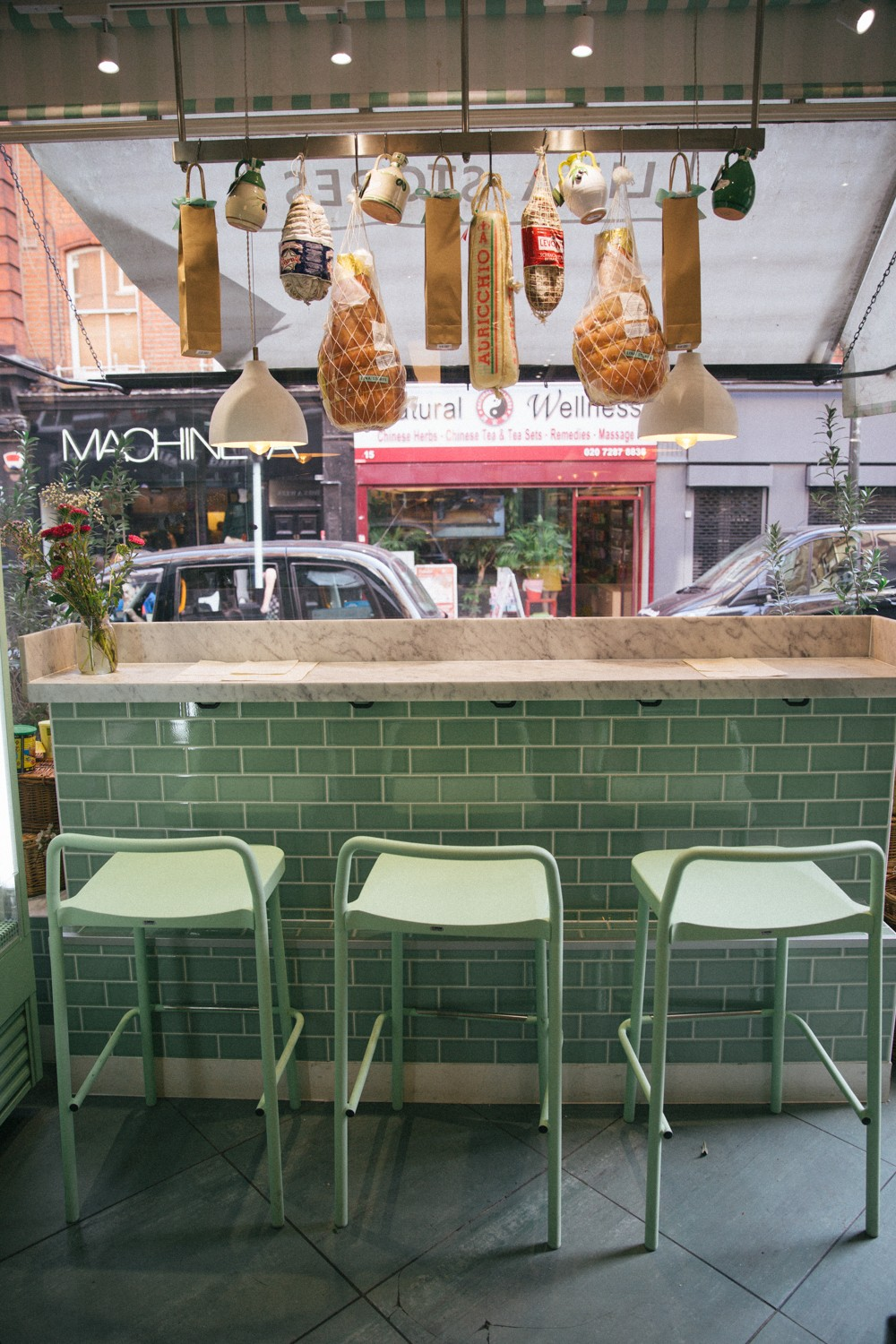 Deli in London with pretty green tiles!