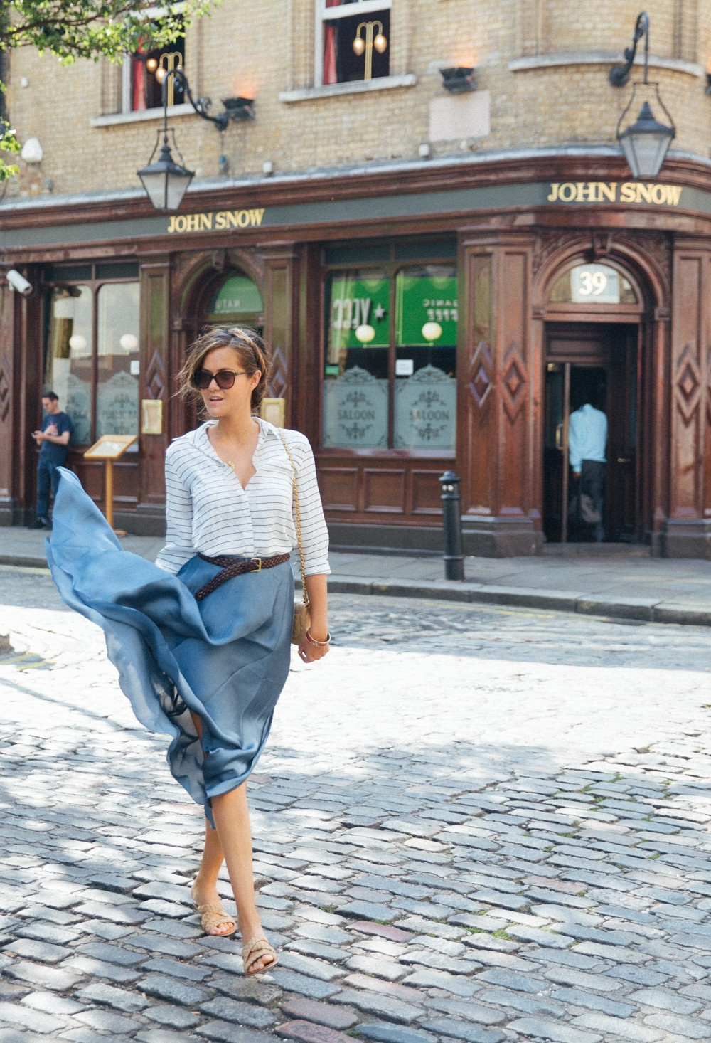 Flowy Silk Blue Skirt & Striped Shirt