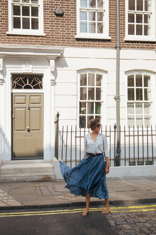 Silky belted blue midi skirt