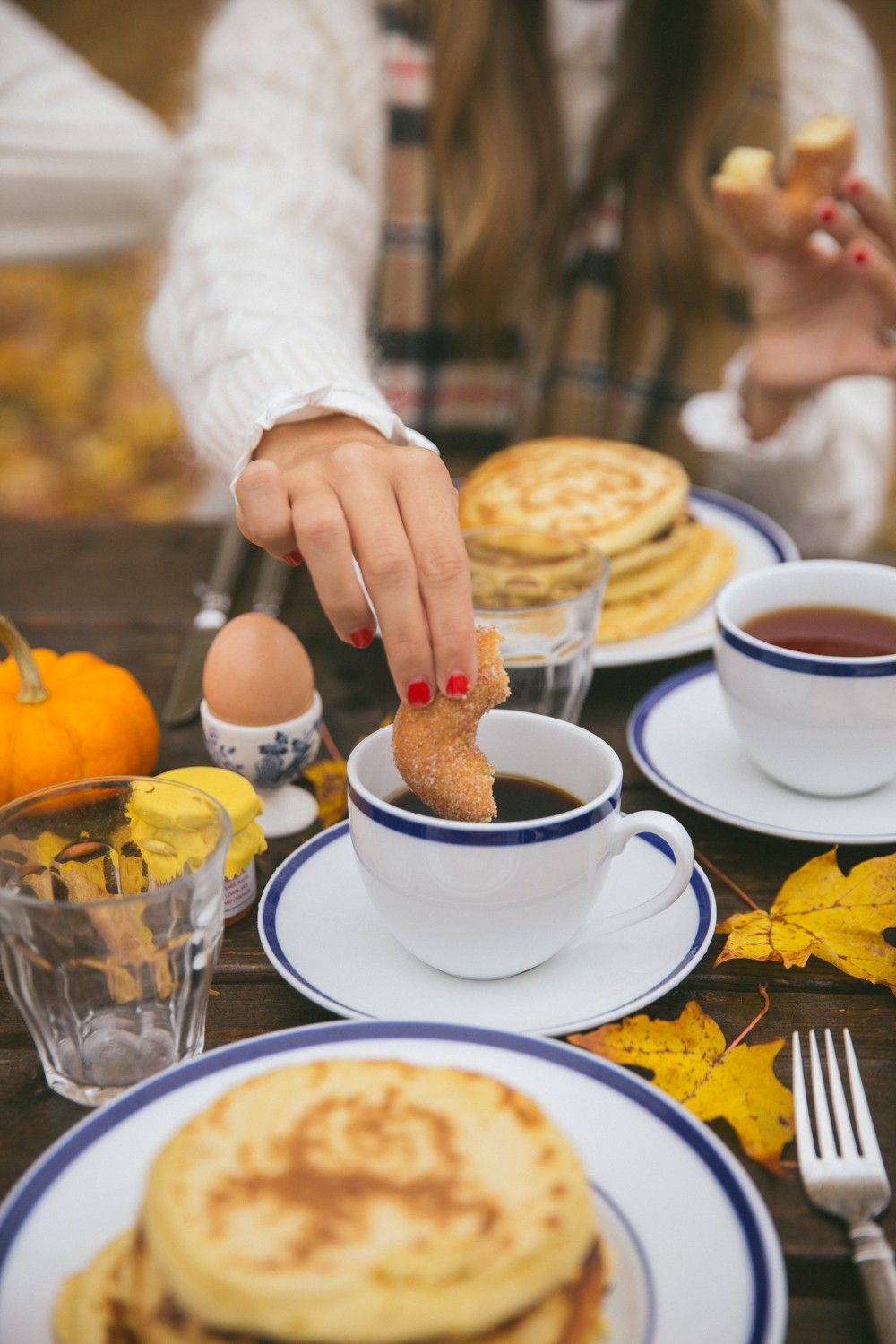 The perfect fall breakfast : pancakes AND donuts amongst the leaves