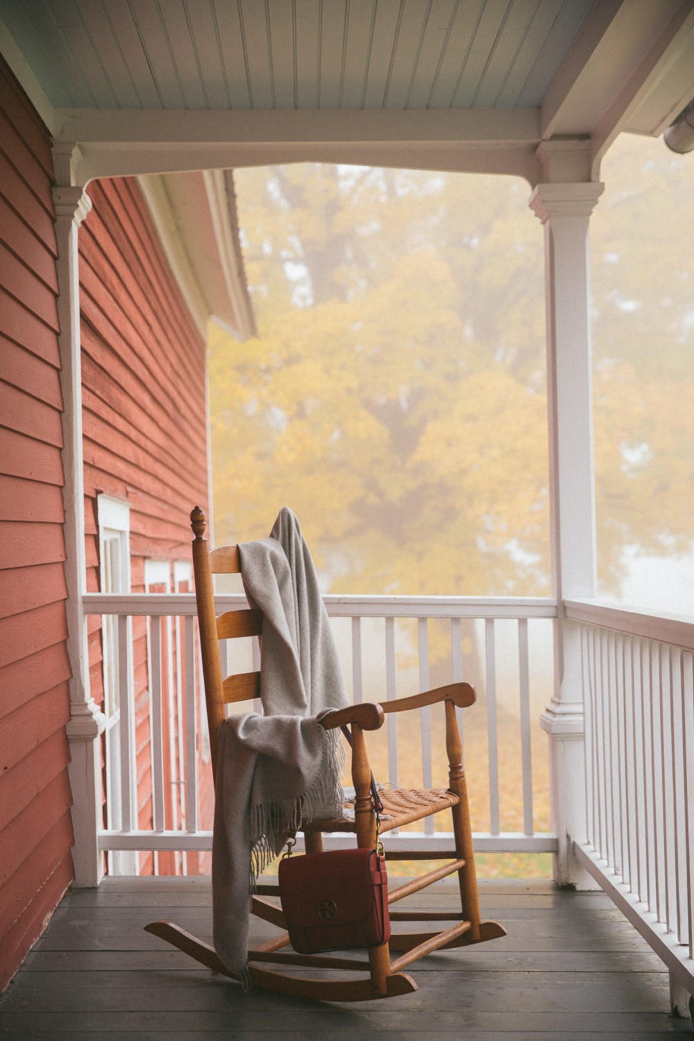 Misty morning on the front porch