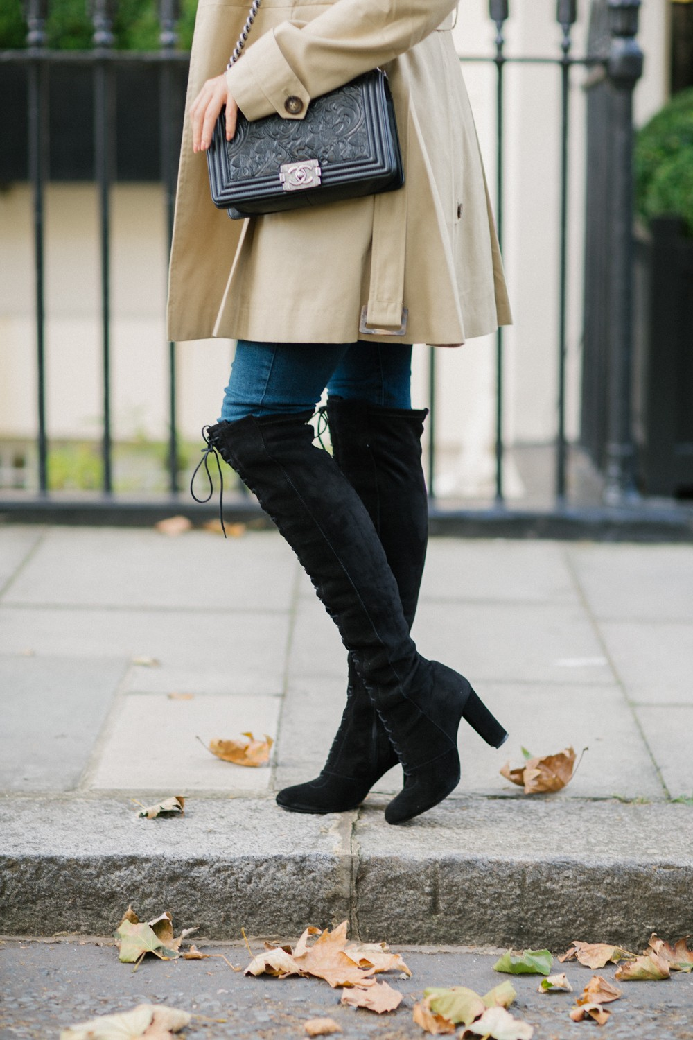 Lace up OTKs and a trench